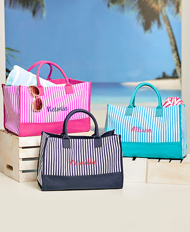 Personalized Striped Canvas Totes