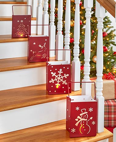 Lighted Metal Holiday Luminaries