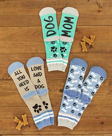 3-Pair Dog or Cat Mom Slipper Socks