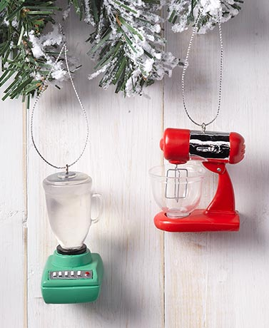 Set of 2 Kitchen Appliance Ornaments