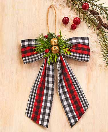Buffalo Plaid Bow Ornament