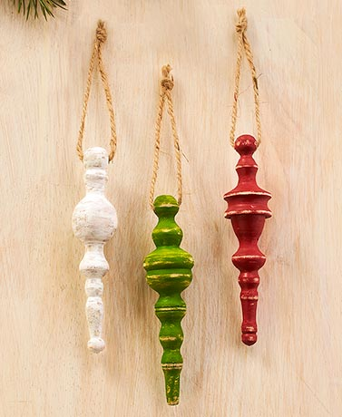 Set of 3 Wood Spindle Ornaments
