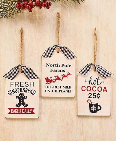 Set of 3 White Tag Ornaments