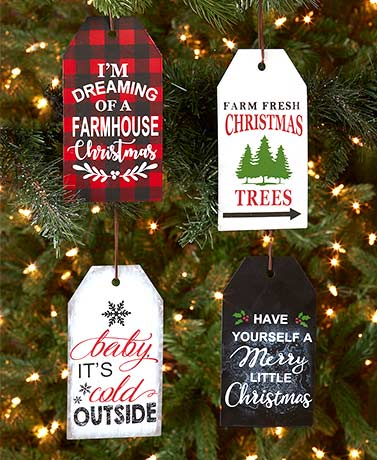 Set of 4 Sentiment Tag Ornaments