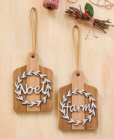 Set of 2 Wooden Wreath Ornaments
