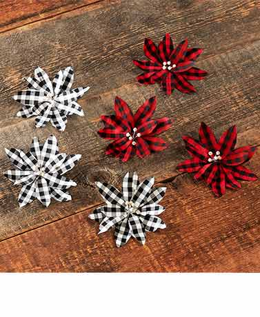 Set of 3 Buffalo Plaid Poinsettia Tree Clips