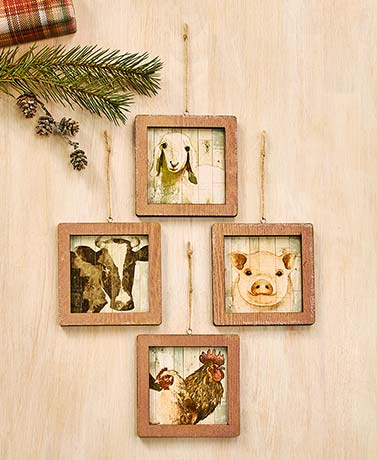 Farm Animal Portrait Ornaments