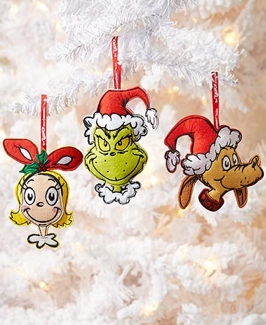 Embroidered Felt Grinch Ornaments