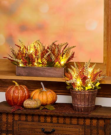 Lighted Faux Harvest Arrangements
