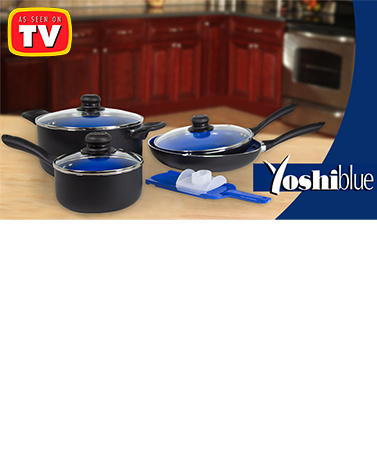 Yoshi Blue 8-Pc. Ceramic Nonstick Pan Set