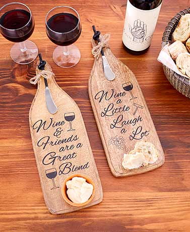 Wine Bottle-Shaped Cheese Board with Spreader
