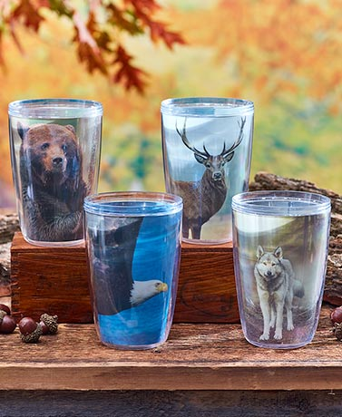 Set of 4 Double-Walled Wildlife Tumblers