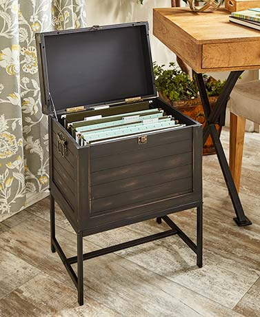 Trunk-Style File Storage Cabinets - Antiqued Black
