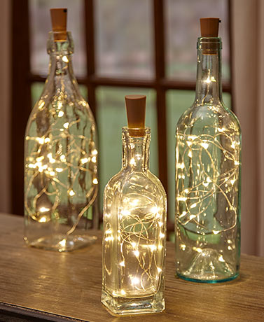 Sets of 3 Wine Bottle Stopper String Lights - White