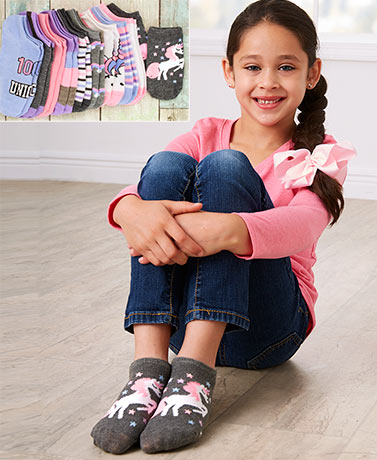 Girls' 10-Pk. Socks with Bonus Hair Accessory