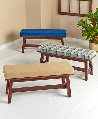 Solid Wood Upholstered Farmhouse Benches
