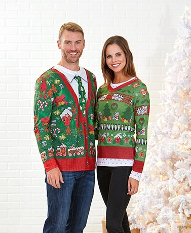 His or Hers Ugly Christmas Sweater T-Shirts