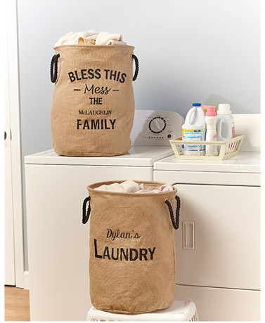 Personalized Burlap Laundry Totes
