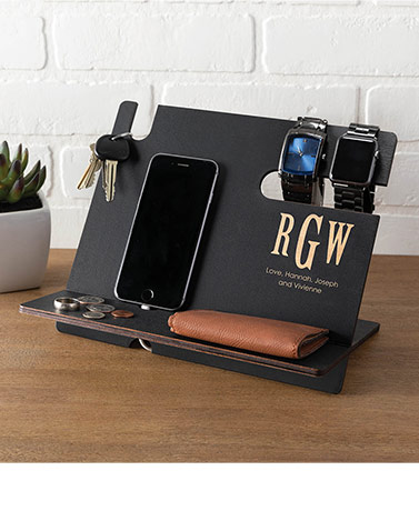 Personalized Wood Valet Desk Organizer