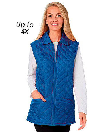 Plus Floral-Lined Quilted Vests