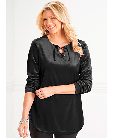 Velour Lace-Up Tunic