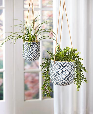 Sets of 2 Hanging Ceramic Planters