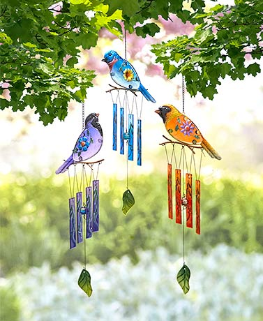 Colorful Glass Bird Wind Chimes