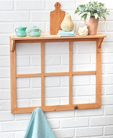 Window Pane Wall Decor with Shelf