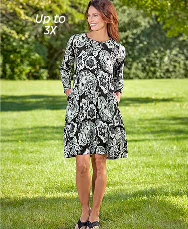 34-Sleeve Swing Dress with Pockets