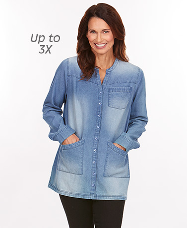 Women's Button-Down Denim Tunic