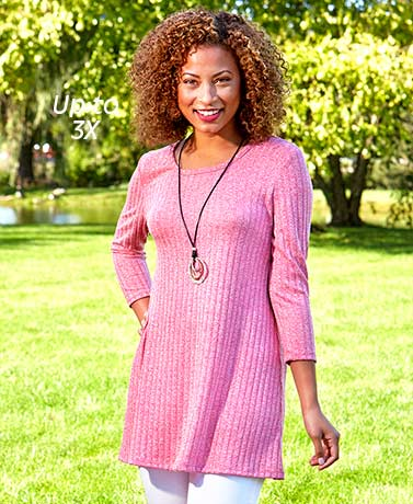 Women's Ribbed Swing Tunic Tops
