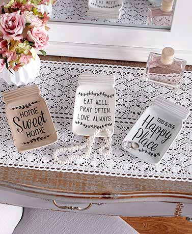 Sentiment Mason Jar Trinket Dishes