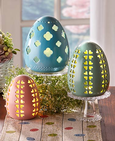 Lighted Ceramic Eggs