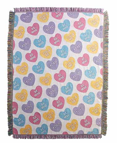 Candy Hearts Tapestry Throw Blanket