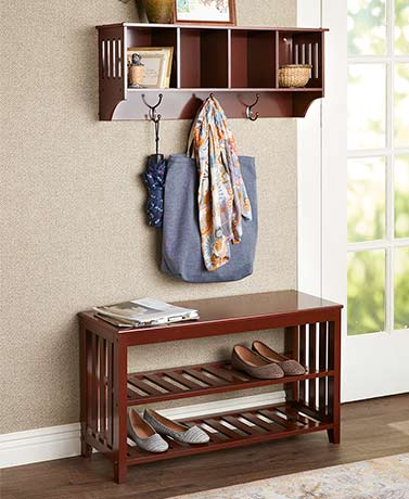 Entryway Bench with Shoe Storage or Wall Shelves
