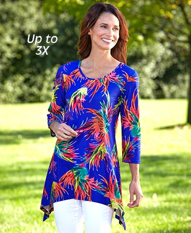 Super-Soft Printed Sharkbite Tunic Tops