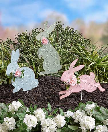 Pastel Easter Bunny Garden Stakes