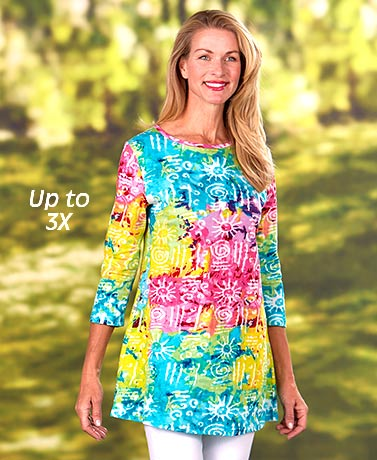 Women's Printed Knit Tunic Tops