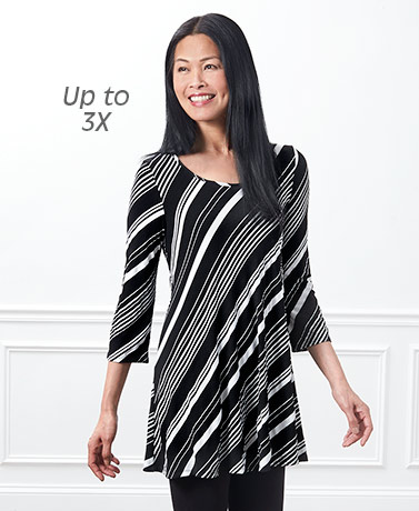 Women's Diagonal Stripe Tunic Tops