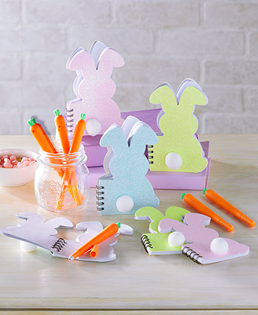 Sets of 6 Carrot Pens or Bunny Notepads