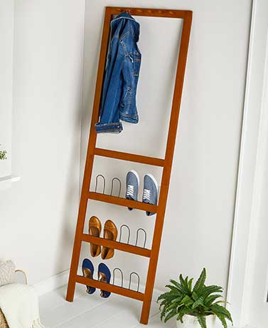 Leaning Entryway Organizer with Shoe Rack