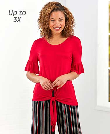 Women's Tie-Front Ruffle-Sleeved Tops