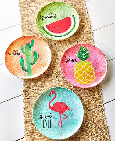 Set of 4 Summertime Melamine Salad Plates