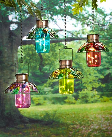 Colorful Glass Mason Jar Lanterns
