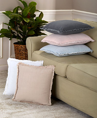 Frayed Edge Linen-Look Pillows