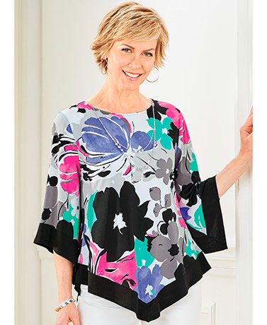 Alfred Dunner Floral Tunic with Free Necklace