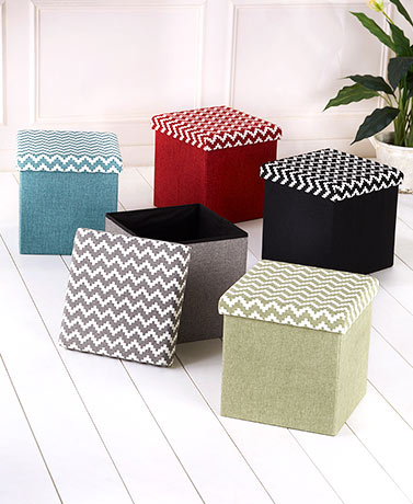 Chevron Accent Folding Storage Ottomans
