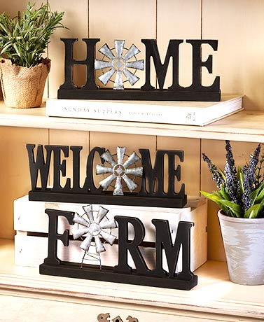 Windmill Tabletop Word Plaques