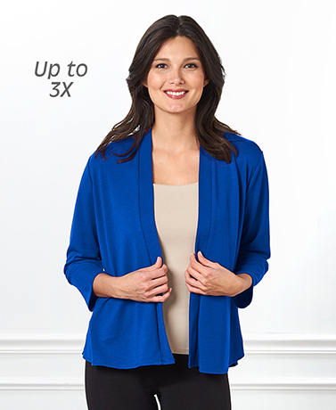 Open Front Cardigan with Peplum Detail