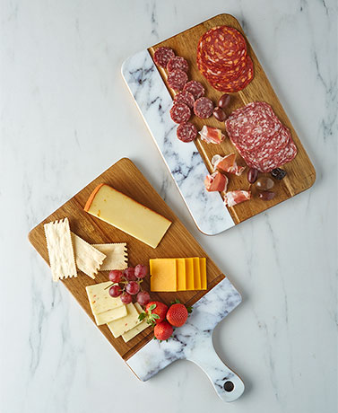Acacia Wood and Marble Cutting Boards